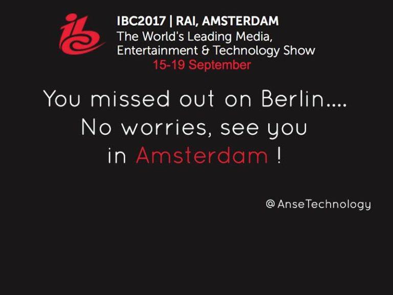 ibc amsterdam 2017 - anse technology